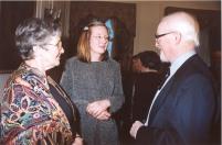 Professor John Clarke speaks with Mrs Jean Clarke and Dr Brigitte Toro