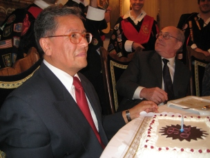 Professor Toro (left) and Professor Roe (right) during the banquet.